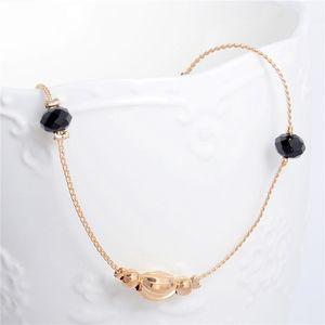Boho Gold Charm Black Beaded Bracelet / Anklet